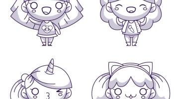 Kawaii Girls Coloriage A Imprimer Par Jade Summer Artherapie Ca