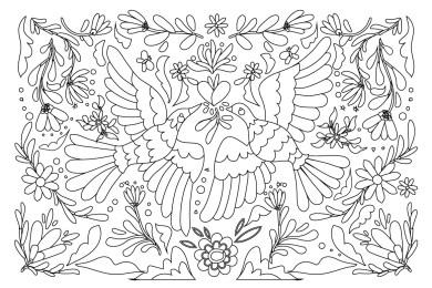 Broderie gratuite oiseaux à colorier