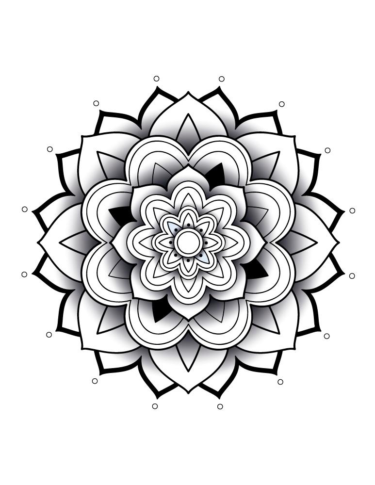 Mandala 3D à imprimer et dessiner
