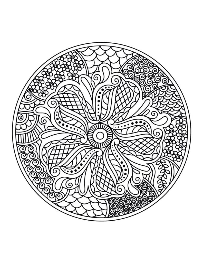 Curieux coloriage mandala dessin