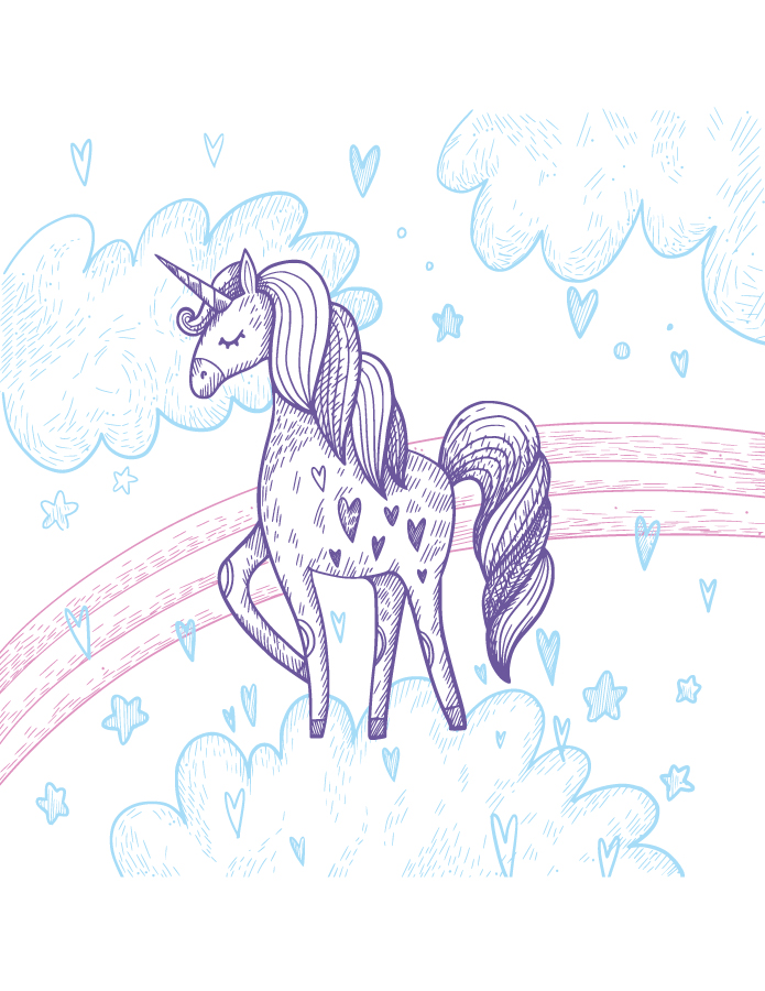 Coloriage licorne petit poney
