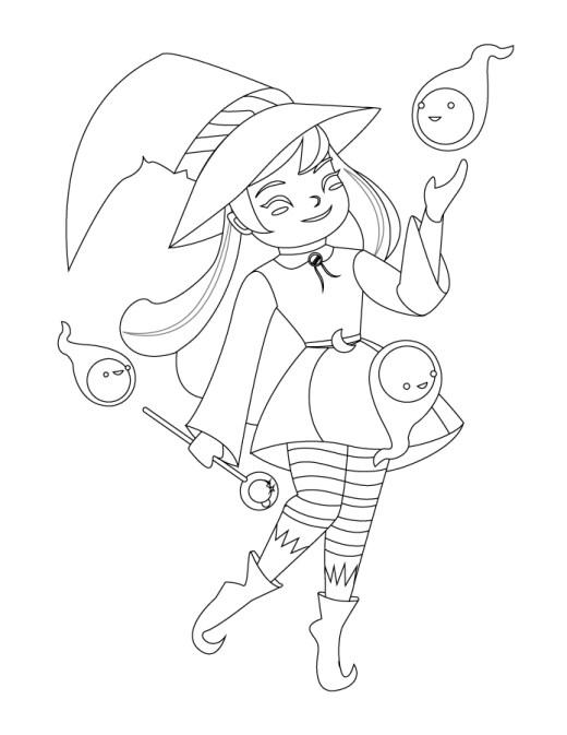Adorable sorcière dessin Halloween