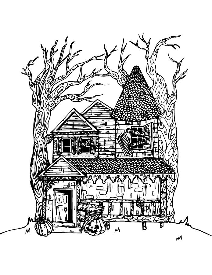 Maison hantée à dessiner