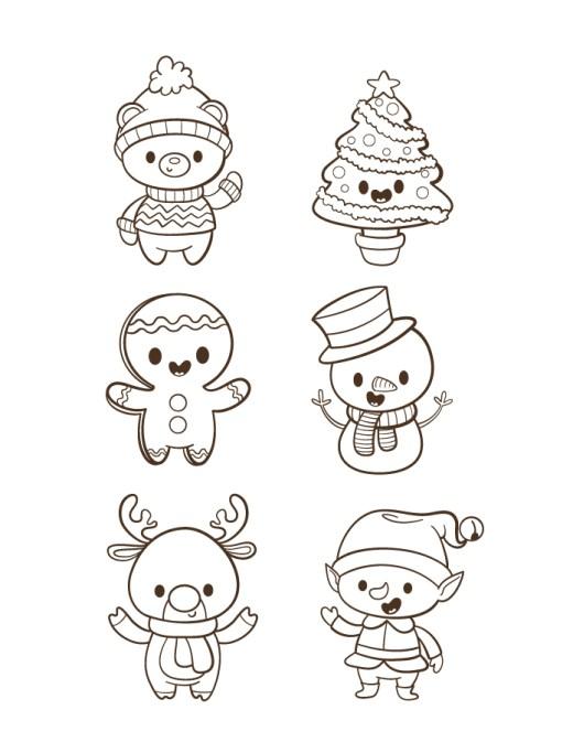 Kawaii personnages de noël gratuit