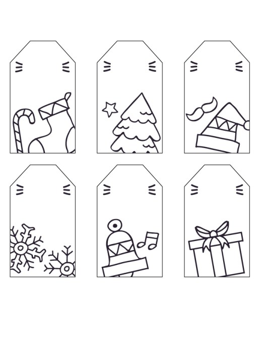 Étiquettes de Noël à dessiner