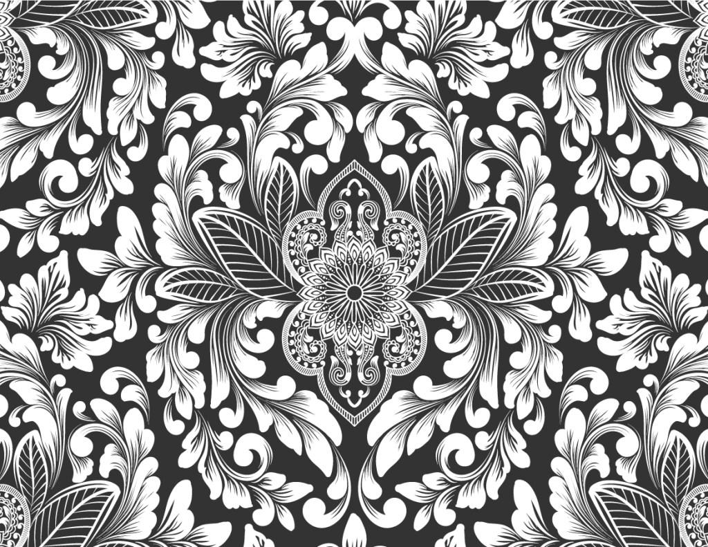 Coloriage tissus Damas fond noir