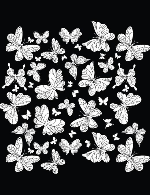 Fond noir papillons dessin gratuit