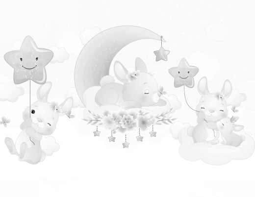Adorables lapins page grayscale