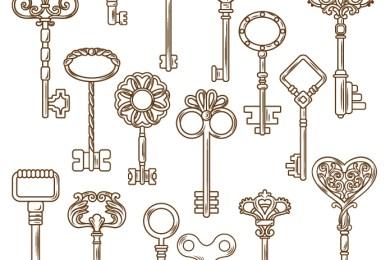 Dessin clés vintage à colorier