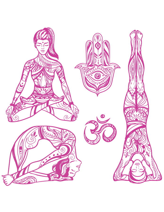 Position yoga adulte à dessiner