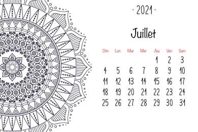 Juillet 2021 calendrier mandala