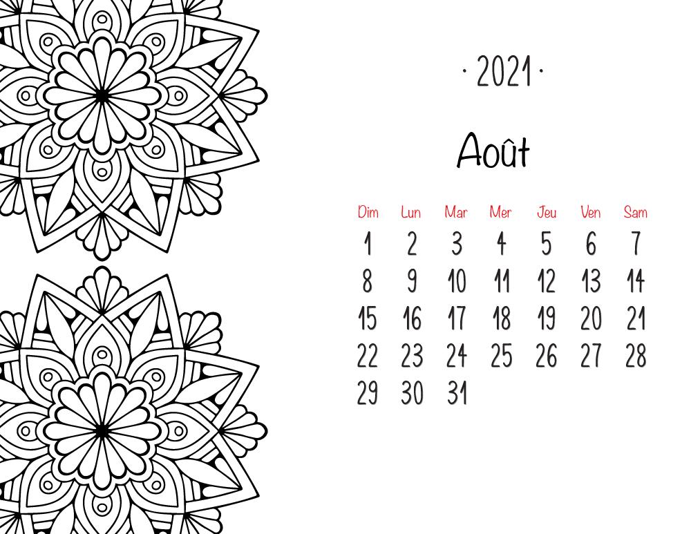 Aout 2021 calendrier mandala