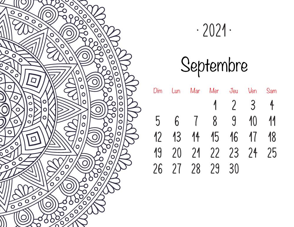 Calendrier mandala septembre 2021