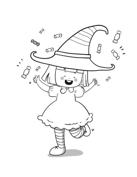 Halloween sorcière kawaii à dessiner
