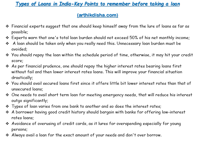 Types of Loans in India Key Points to remember