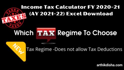 Income Tax Calculator FY 2020-21(AY 2021-22)Excel Download