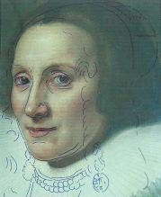 Tracing of Caecilia's face over that of Cornelia's