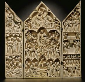 Master of the Amiens Triptych (Paris), Triptych with nine scenes of the life of the Virgin, 1310-20, 26.7 x 26.5 cm, Ivory with remains of original polychromy and gilding. Photo: Sotheby's