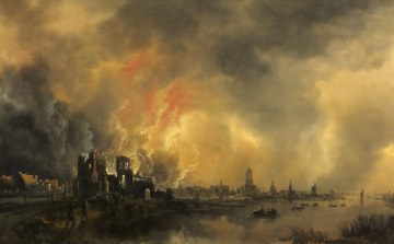 Aert van der Neer, fire at a castle by night, after 1650, 33 x 53 cm. Photo: Mick Vincenz, Essen