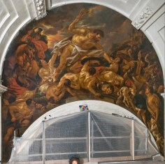 Jacob Jordaens, Samson lunette in the gallery, during restoration