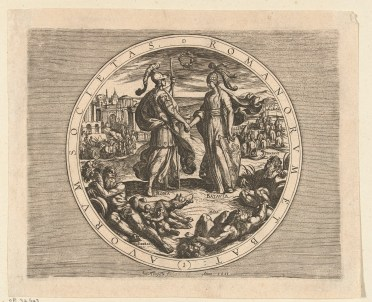 Antonio Tempesta and Otto van Veen (Vaenius), 1612, title page of Batavorum cum Romanis Bellum, etching, Rijksmuseum