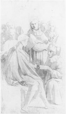 Raphael, preparatory study for the Pandects, Städelsches Kunstinstitut, Frankfurt, b/w image