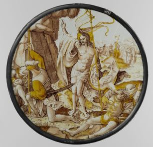 27. The Resurrection, anonymous, grisaille paint on glass, ca. 1515-20, 23.1 cm (circular), Rijksmuseum