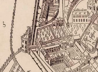 "8. The ""Kloveniersdoelen"" with shooting range that could be reached via a bridge across the road from their headquarters in the tower ""Swych Utrecht"", detail from Cornelis Anthonisz map of Amsterdam, 1544"