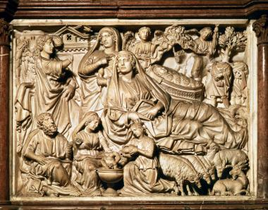 Nicola's Nativity. Detail of pulpit, 1302-10, Marble, Pisa Cathedral, proto-Renaissance style with French Gothic influences