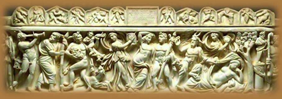 Relieve Romano mostrando musicos interpretando instrumentos.