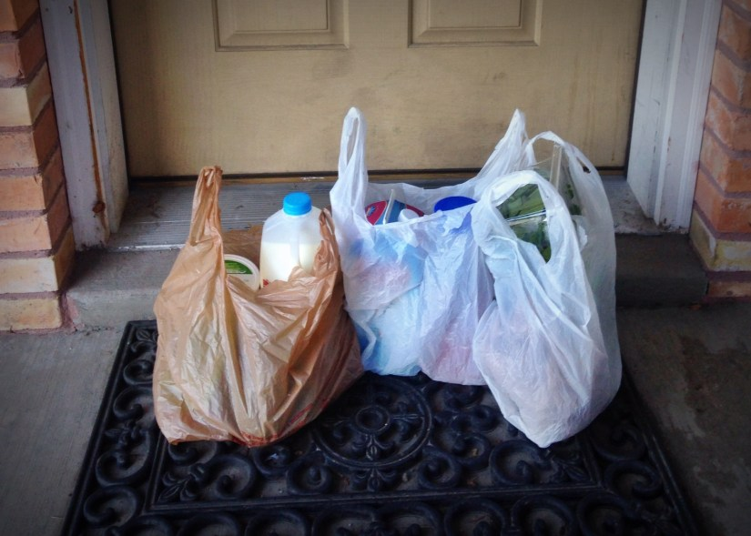 Groceries delivered to people sheltering at home in the Covid-19 pandemic. Photo by Alex Alpin