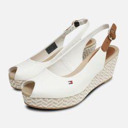 ea99e556045c4 Tommy Hilfiger Womens Elba White Wedge Sandals