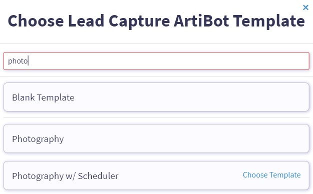 photography chatbot template