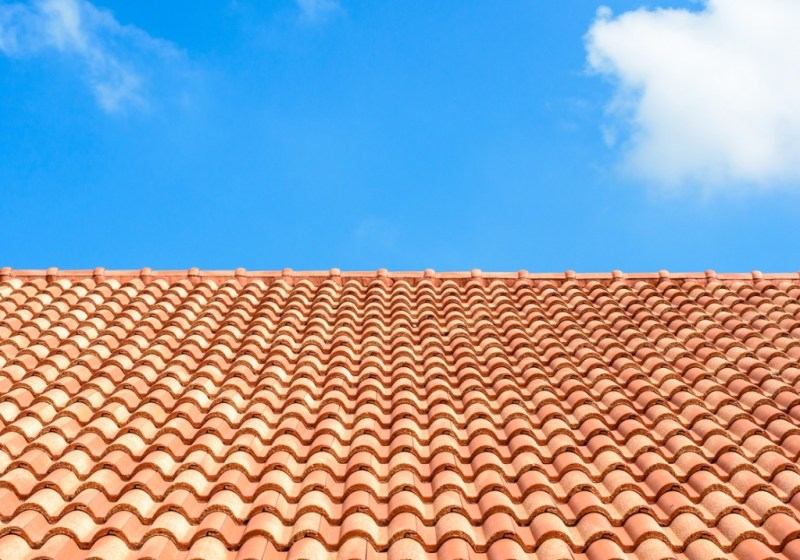 tiled roof and blue sky