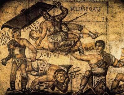 Mosaico que representa gladiadores de la Antigua Roma