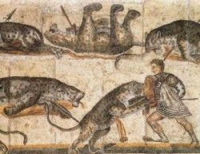 Mosaico de gladiadores bestiarii de la Antigua Roma