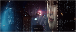 L'ouverture du film Blade Runner a profondément cristallisé l'esthétique cyberpunk Source: Wikipedia, page «Blade Runner»