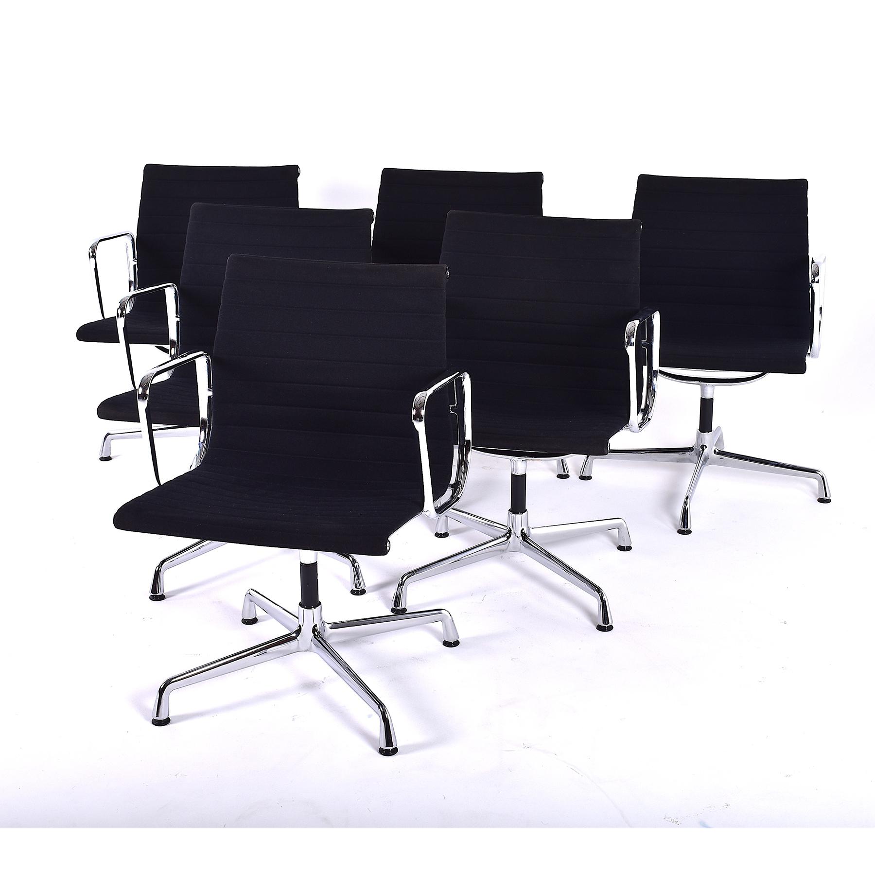 set of six eames ea 107 chairs
