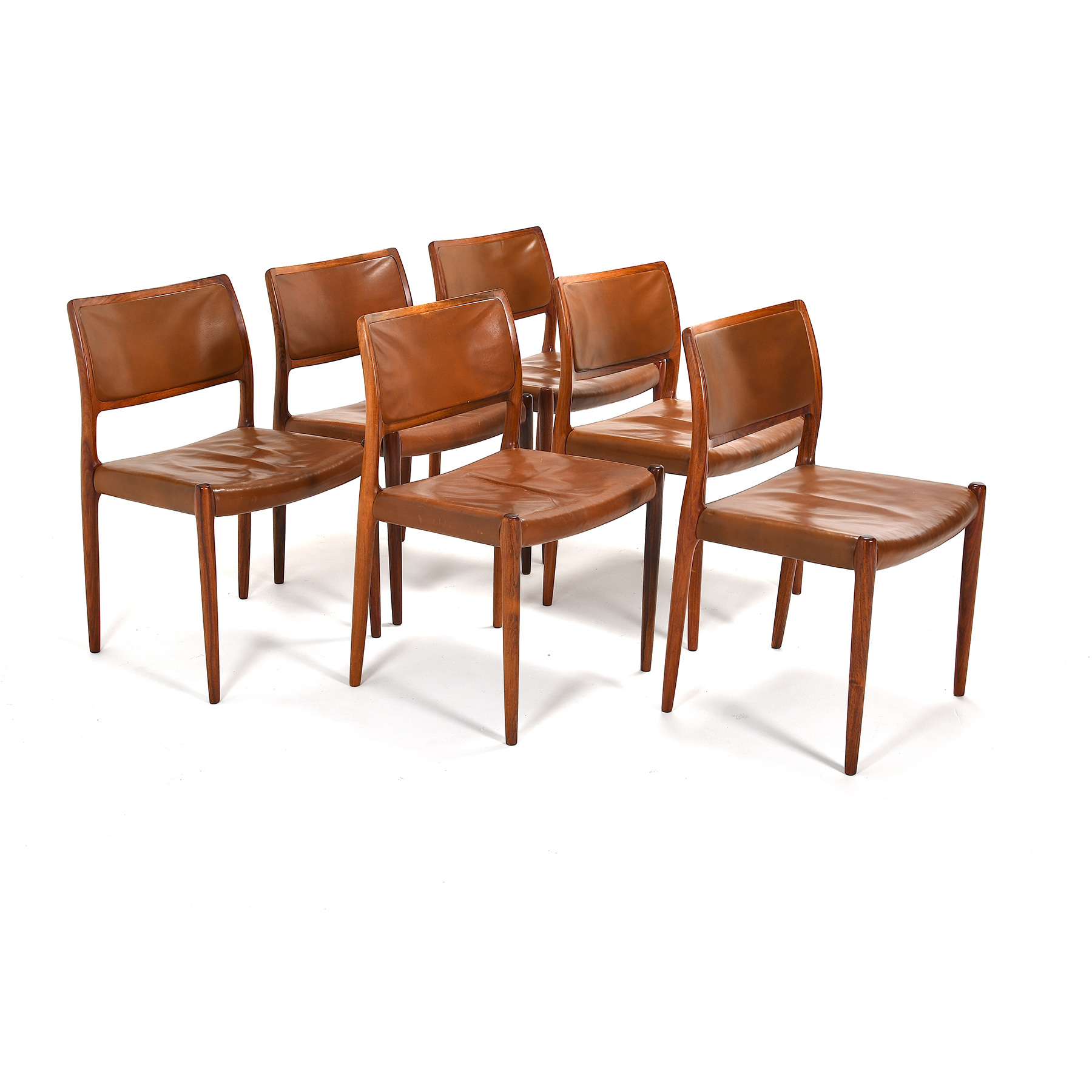 set of six eames ea 107 chairs