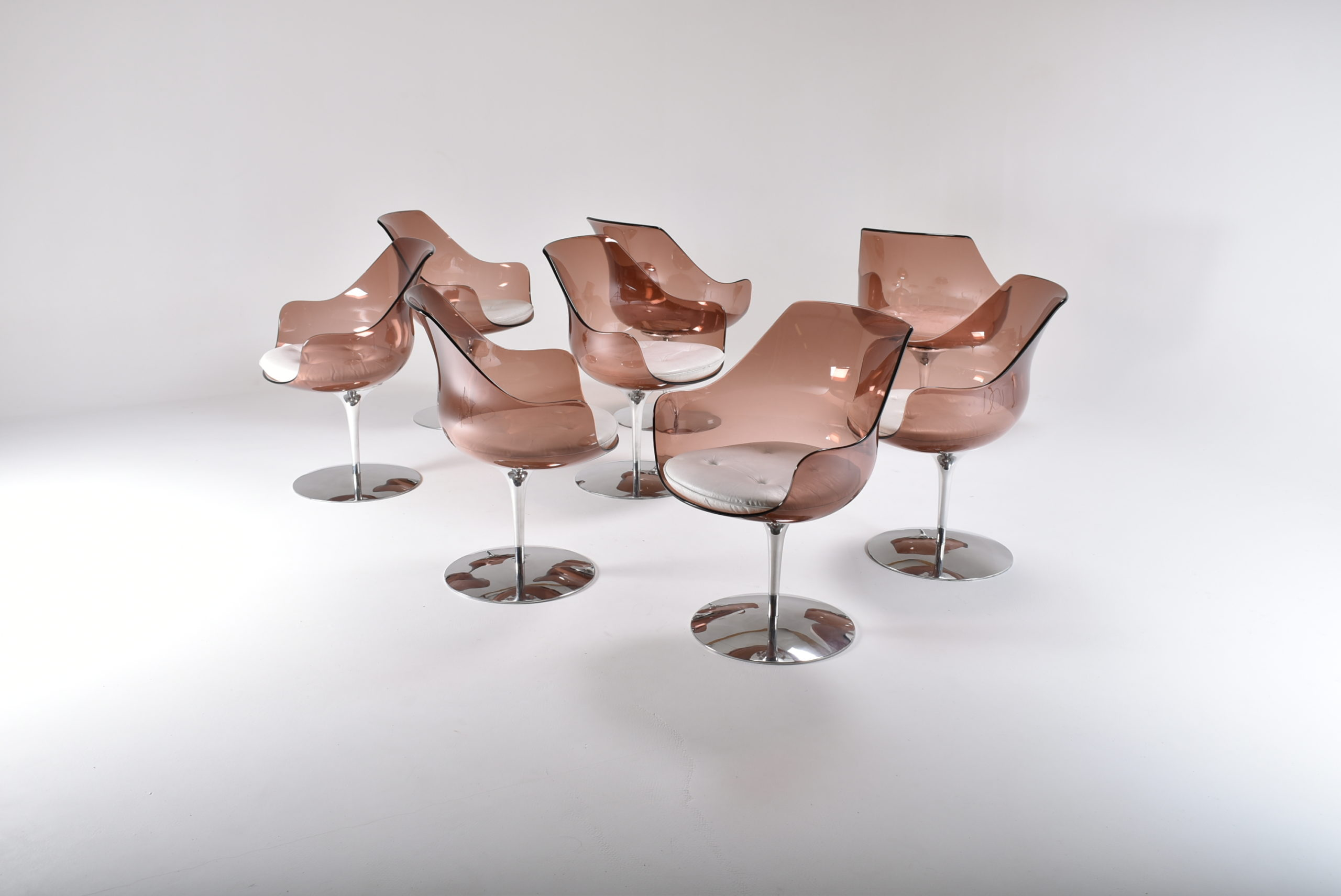 Set of eight Champagne chairs by Laverne