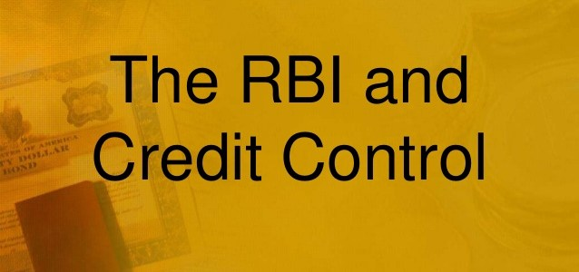 Credit Control by RBI
