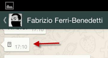 Os emoticons extras do WhatsApp+ aparecem como um ponto de interrogação no programa oficial