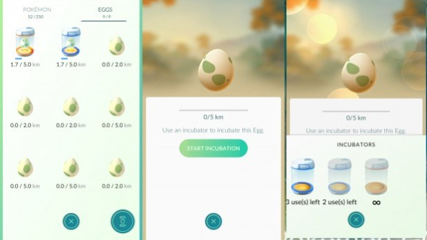 Incubators and Pokémon Go Eggs