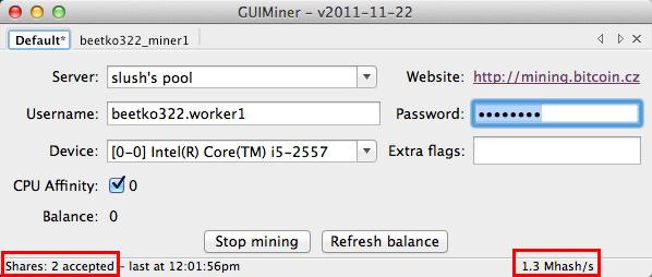 GUIMiner - Mining in corso