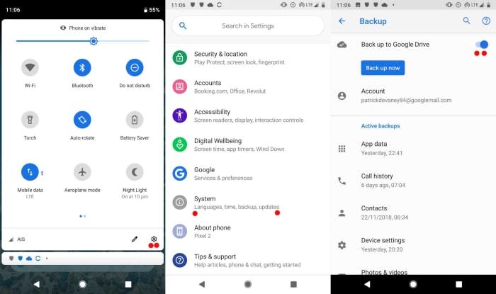 لقطة شاشة لاتصال Android بالنسخ الاحتياطي التلقائي