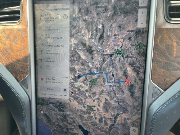 Our Tesla trip planner charging a course through the Mojave desert in extreme heat.