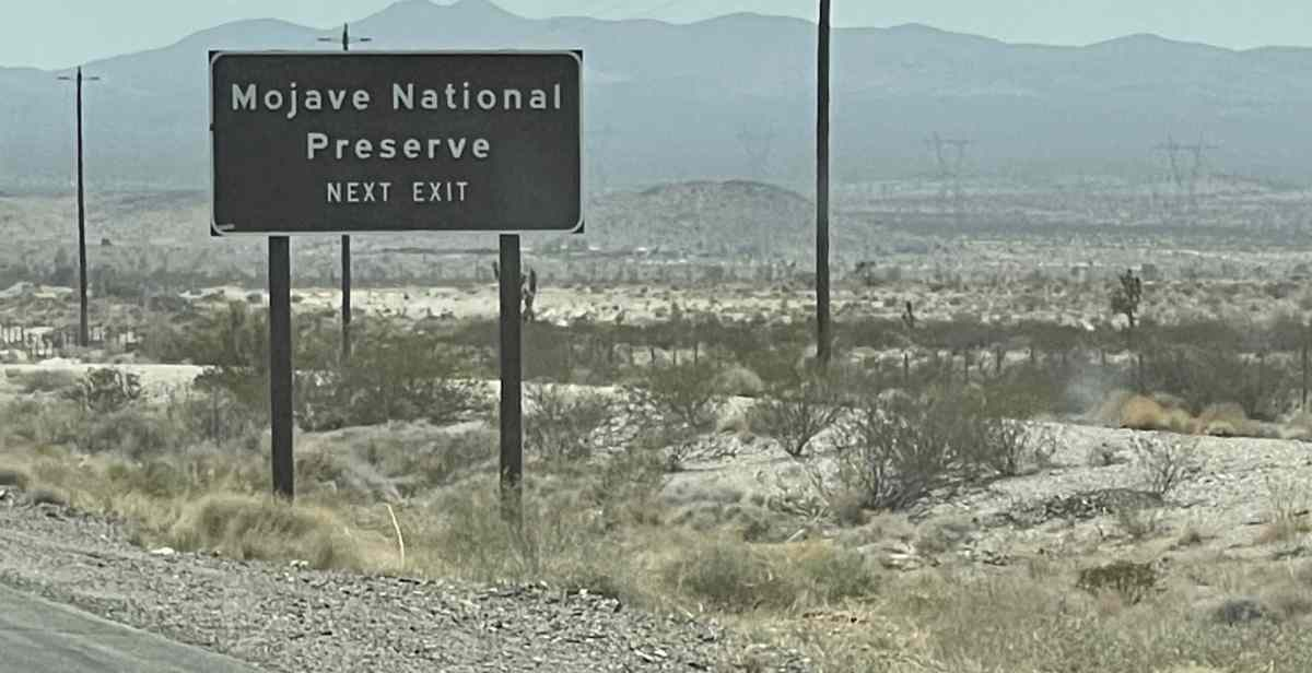 Electric car driving in extreme heat in the Mojave desert
