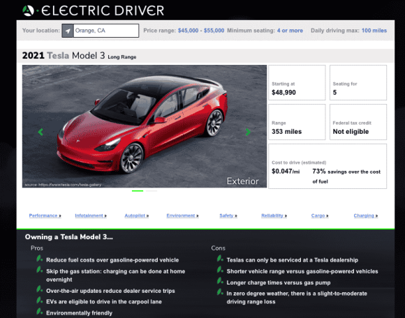 Electric Driver 2021 Tesla Model 3 Overview