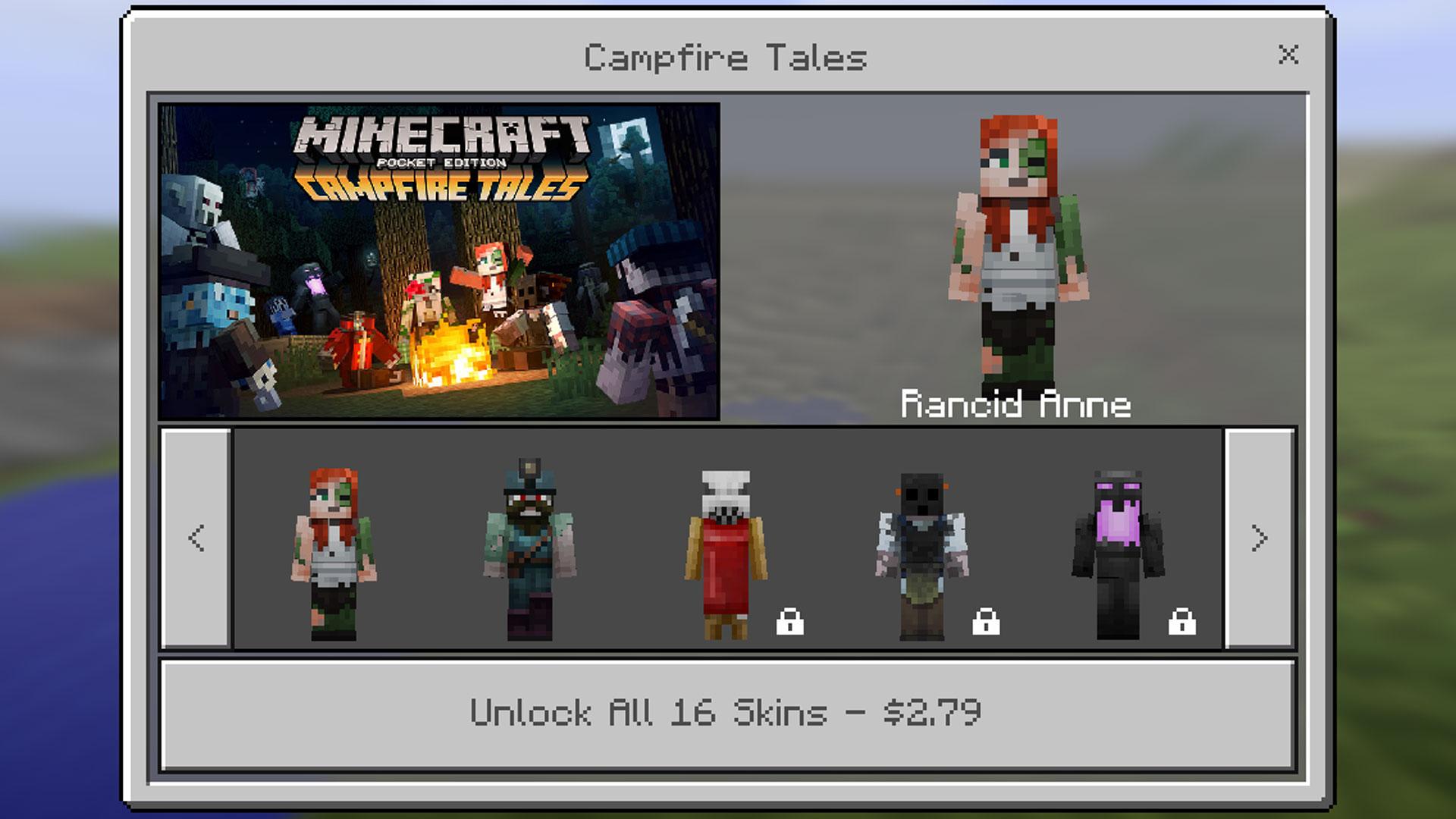 Minecraft Pocket Edition Campfire Tales Skin Pack
