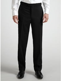 Daniel Hechter Wool Flat Front Dinner Suit Trousers Black